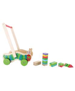 Chariot pousseur en bois modèle chenille (détail) - Qualijouet