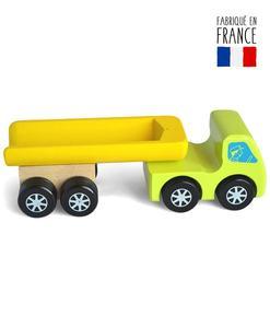 Camion benne vert en bois massif et remorque détachable - Qualijouet