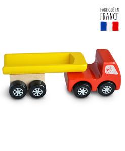 jouet bois camion benne rouge