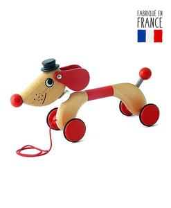 jouet bois tirer qualijouet chien