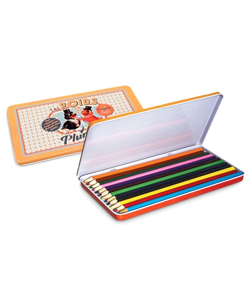 crayons couleur boite metal poids plumes qualijouet