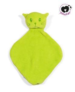 doudou plat chat vert m peluches