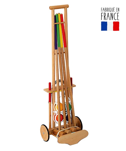 jeu de croquet en bois de h tre sur chariot adulte. Black Bedroom Furniture Sets. Home Design Ideas