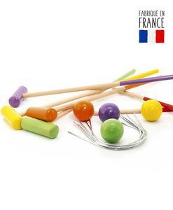 jeu croquet maillets piquet arceaux boules bois