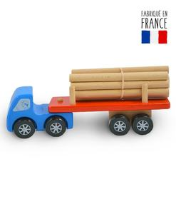 jouet bois camion grumier bleu qualijouet