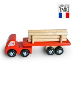jouet bois camion grumier rouge qualijouet