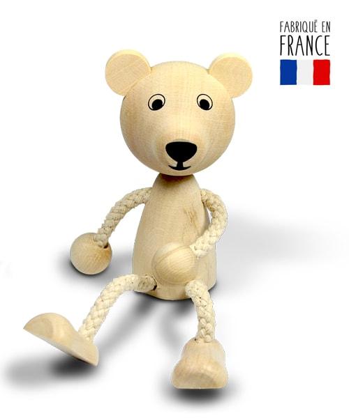 jouet bois ours pantin