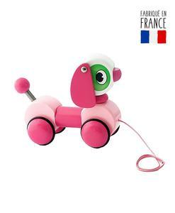 jouet tirer bois chien rose