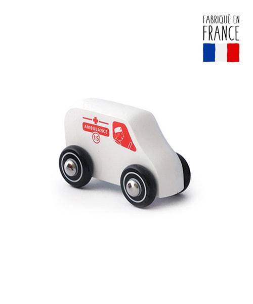 jouet voiture bois ambulance qualijouet
