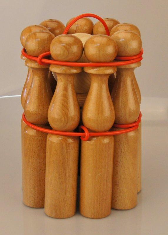 Jeu de quilles en bois naturel verni hauteur 24 cm - Qualijouet