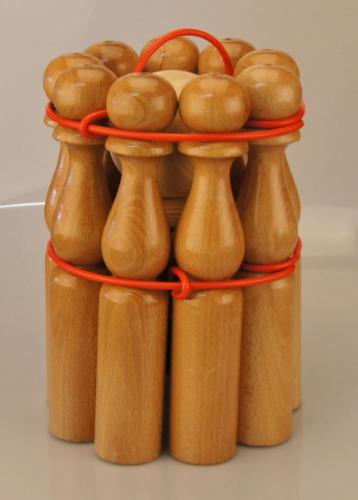 Jeu de quilles en bois naturel verni hauteur 30 cm - Qualijouet