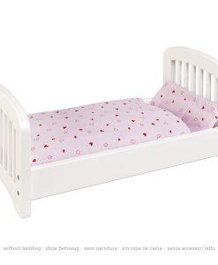 Lit de poupée en bois et linge de lit à monter - Qualijouet