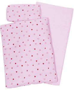Linge de lit pour poupée en Tissu coton motifs coeurs et couronnes - Qualijouet