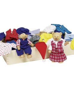 Ours en bois avec garde-robe (8 tenues) - Qualijouet