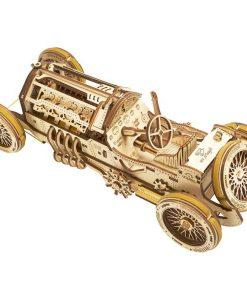 kit de construction puzzle 3D Bolide U9 grand prix en bois (détail) - Qualijouet