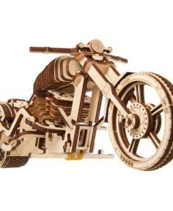 kit de construction puzzle 3D moto en bois (vue avant) - Qualijouet